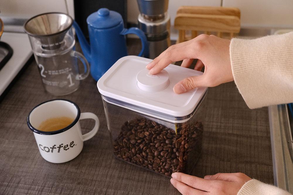▲ 咖啡控必備氣密收納盒,透明外盒份量清晰可見。